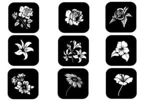 Zwart-wit Floral Vector Pack