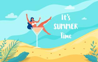 Zomervakantie met strandtafereel. Heet meisje in cocktailglas laten we feest zomervakantie