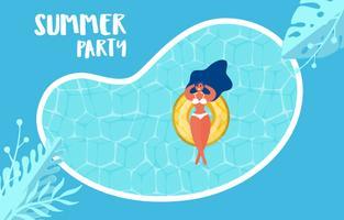 Hoogste mening van de partij van de de zomerpool. Zomertijd hete verkoop reclameontwerp met meisje op rubberring in zwembad.