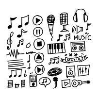hand teken muziek pictogram vector