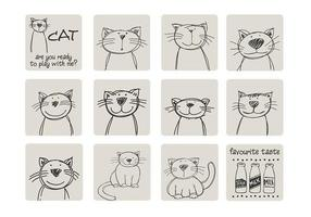 Hand getekende kat vector pakket