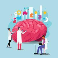 Artsen helpen de hersenen. Wereld geestelijke gezondheid dag concept vector