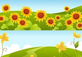 Gele Zonnebloem Achtergrond Vector Pack