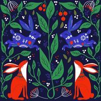 Scandinavisch volkskunst printbaar patroon met konijntjes en bloemen