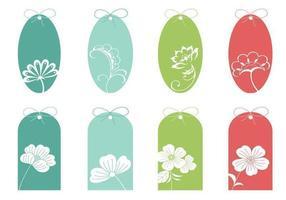 Kleurrijke bloemen tag vector pack