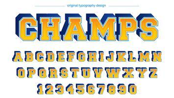 Vetblauwe gele Varsity-typografie