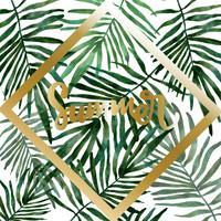 hand getekend aquarel tropische bladeren vector