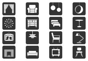 Zwart en wit interieur Vector elementen Pack