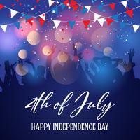 Partijmenigte op een 4 juli-Onafhankelijkheidsdag achtergrond vector