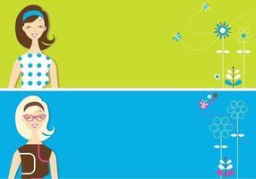 Retro meisjes banner vector pack