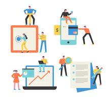 Mobiel, laptops, digitale apparaten, papierwerk Mensen die zaken doen. vector