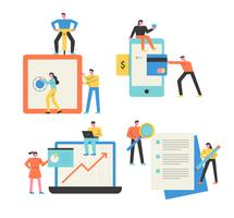 Mobiel, laptops, digitale apparaten, papierwerk Mensen die zaken doen.