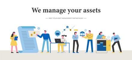 Een groep professionals die zakelijke aangelegenheden beheert. vector