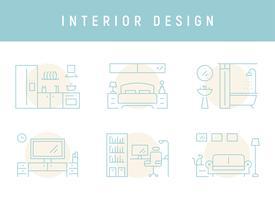 Interieurontwerp voor elke kamer. vector