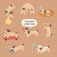 schattige hond dag routine. vector