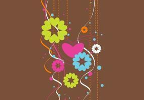 Funky Bloemen Hart Vector