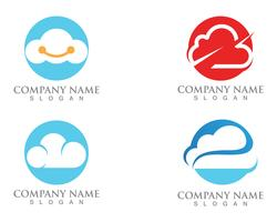 Cloud logo servers data en symbolen pictogrammen