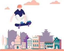 Skateboard. Vector illustratie voor een briefkaart of een poster, afdrukken voor kleding. Straatculturen.