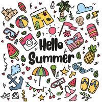 hand getrokken zomer strand doodles geïsoleerde vector symbolen en objecten Icon Set op schoolbord.