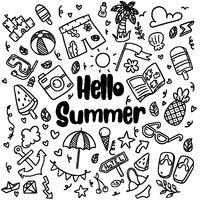 hand getrokken zomer strand doodles geïsoleerde vector symbolen en objecten Icon Set op schoolbord
