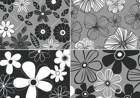 Zwart-wit Retro Bloemen Achtergrond Vector Vier Pakket
