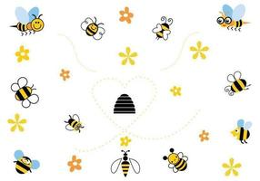 Cartoon bee vector pack