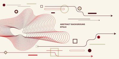 Abstracte geometrische achtergrond met platte trendy minimale stijl achtergrond. Pijl, cirkel, vierkant, lijnelementen.