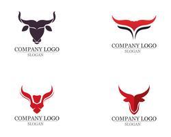 Bull horn logo en symbolen sjabloon pictogrammen
