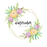 Waterverf bloemenkader met gouden grens vector