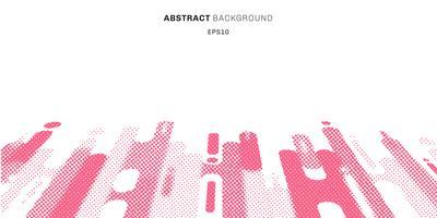 Abstracte halftone stijl roze afgeronde vormen lijnen overgangsperspectief achtergrond met kopie ruimte. Stippatroon modern. vector