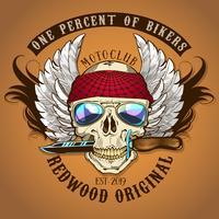 Biker Skull met mes Kleuren vector