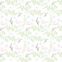 Kleurrijk bloem en wijnstok naadloos patroonontwerp op witte achtergrond. Vector illustratie
