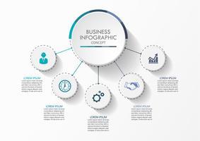 Zakenkring. tijdlijn infographic pictogrammen ontworpen voor abstracte achtergrond sjabloon