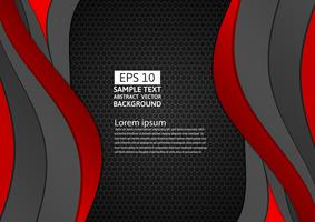 Zwarte en rode kleuren geometrische kromme abstracte achtergrond met exemplaarruimte voor uw zaken, Vectorillustratie vector