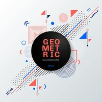 Abstract kleurrijk geometrisch patroonontwerp en achtergrond met zwart cirkeletiket. U kunt gebruiken voor moderne brochure ontwerp, dekking, sjabloon, flyer, folder, poster, banner web, enz.