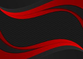 Zwarte en rode kleur golf geometrische textuur. Abstract vector achtergrond