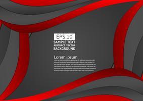 Zwart en rode kleuren geometrisch kromme abstract modern ontwerp als achtergrond met exemplaarruimte voor uw zaken, Vectorillustratie vector