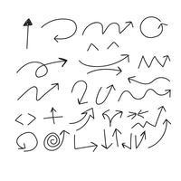 Hand tekenen Doodle pijlen instellen pictogram vectorillustratie vector