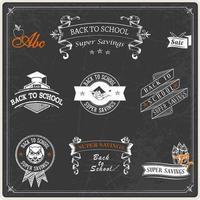 Terug naar school Chalkboard Badges Vector Pack