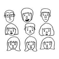 Mensen worden geconfronteerd met pictogram hand tekenen vector