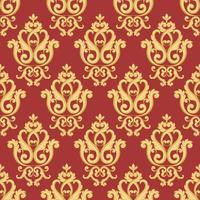 Naadloos damastpatroon. Goud en rode textuur vector