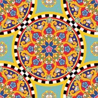 Naadloze lichte achtergrond. Kleurrijke etnische ronde siermandala. Trendy patroon. Vector illustratie