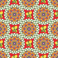 Naadloze patroonachtergrond. Kleurrijke etnische ronde siermandala met citroenen. Vector illustratie