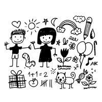 Kinderen hand tekenen doodle pictogram vector