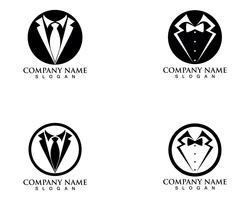 Tuxedo man logo en symbolen zwarte pictogrammen sjabloon vector