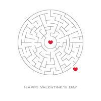 Valentijnsdag achtergrond met hart gevormd in doolhof en labyrint stijl, vector, flyer, uitnodiging, posters, brochure, banners.