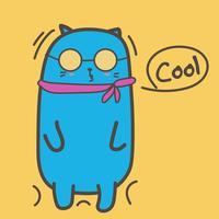 Koele kat met zonnebril. Vector illustratie.