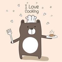 Schattige berenchef is aan het koken. Vector illustratie.