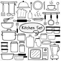 Line Hand Drawn Doodle Vector Kitchen Set inclusief kookgerei. Vector illustratie.