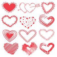 Doodles set Valentijnsdag harten. Hand getrokken schets vectorillustratie.